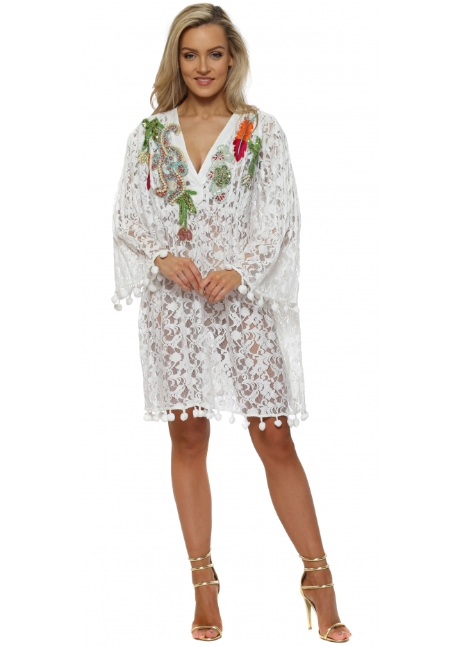 Antica Sartoria White Lace Pearl & Sequin Embellished Kaftan Dress