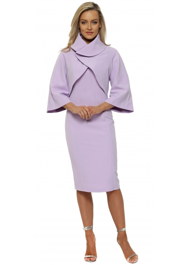 Red & Royal Lilac Pencil Dress & Bolero Jacket