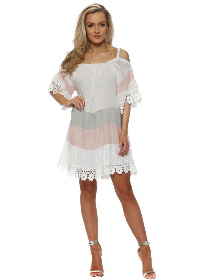 J&L Paris White & Pink Colour Block Summer Dress
