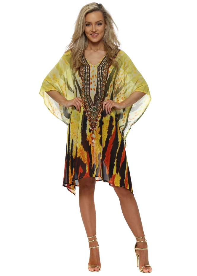 J Adore Yellow Tiger Print Crystal Kaftan