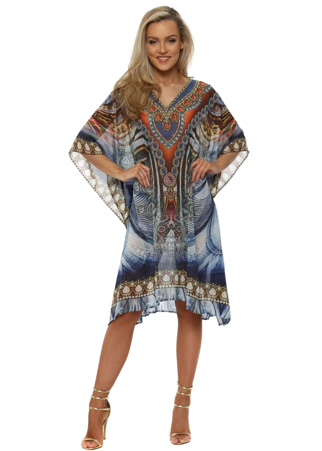 J Adore Blue Jewel & Baroque Print Crystal Kaftan