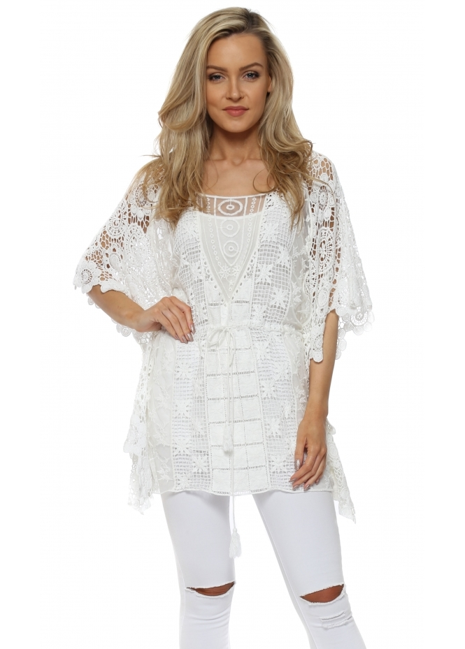Monton White Cotton Crochet Kaftan Top