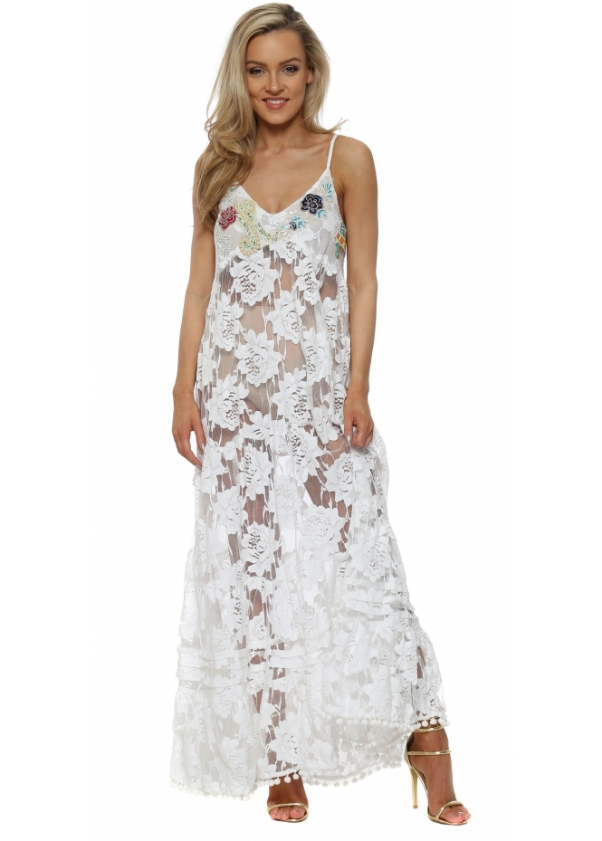 Antica Sartoria White Lace Pearl & Sequin Bodice Maxi Dress