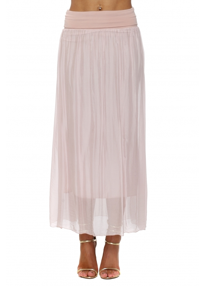 French Boutique Baby Pink Silk Maxi Skirt With Deep Bandeau Waist