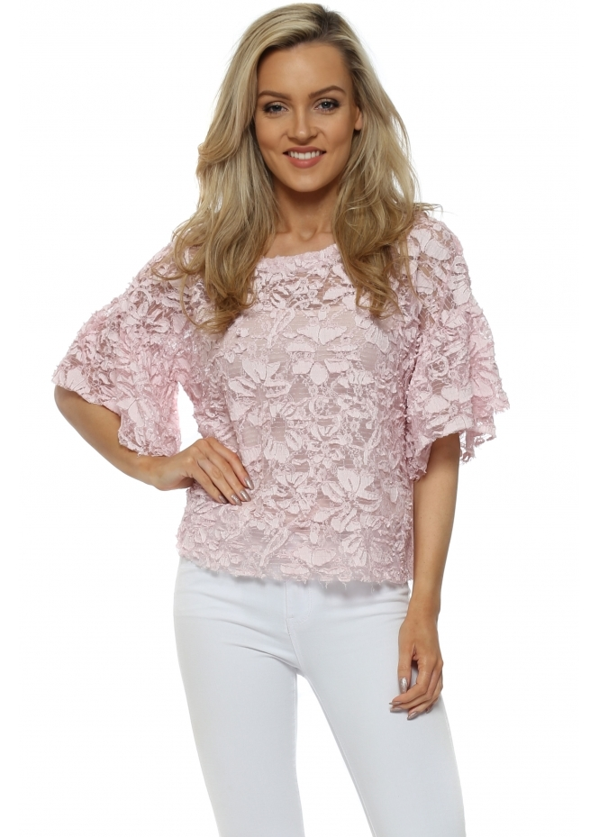 J&L Paris Pink Floral Lace Short Sleeved Cropped Top