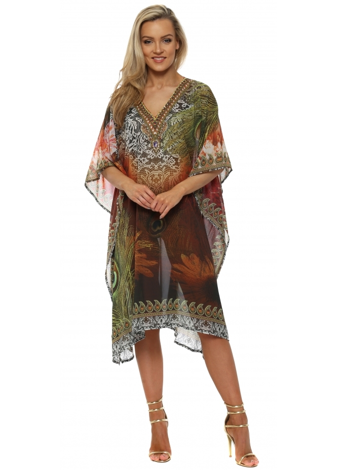 J Adore Brown Peacock Feather Crystal Kaftan