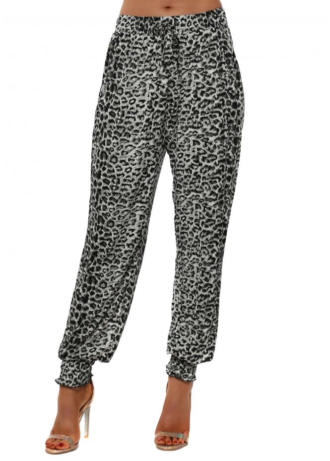 French Boutique Grey Leopard Print Harem Trousers