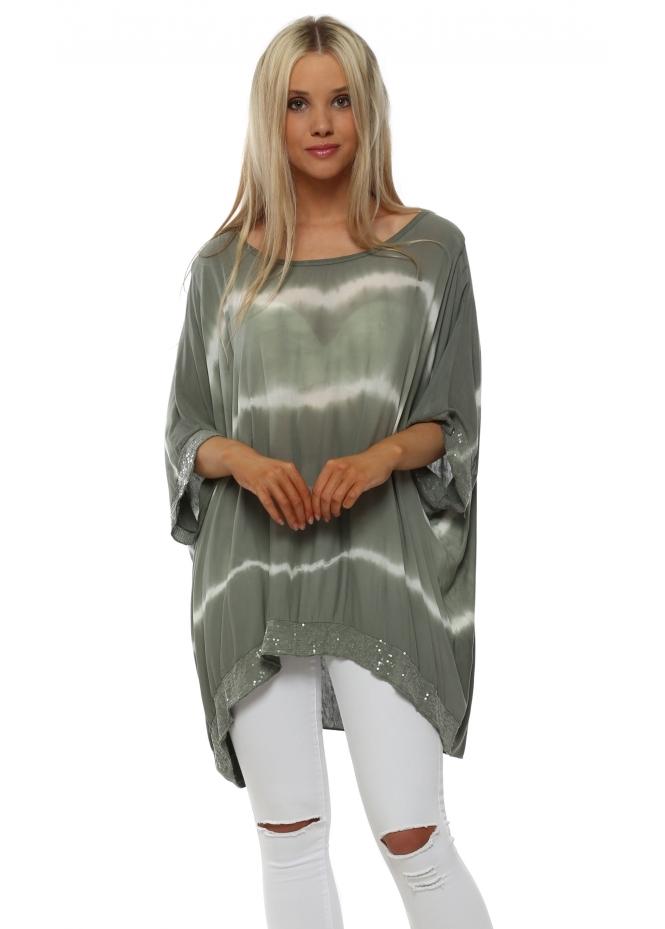 Italian Boutique Khaki & White Tie Dye Sequinned Top