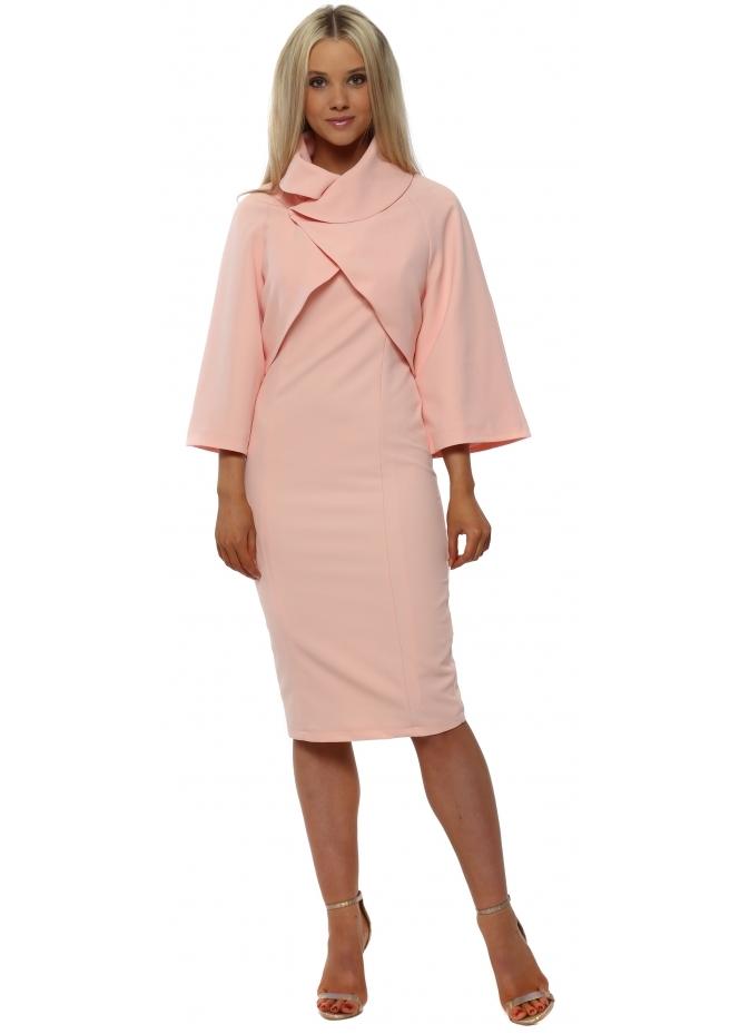 Red & Royal Pink Pencil Dress & Bolero Jacket