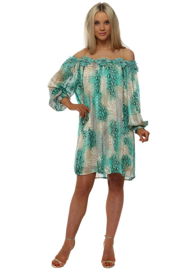 Just M Paris Fleur Aqua Snake Print Floral Shift Dress