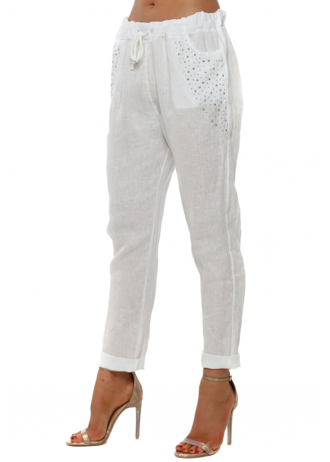 French Boutique White Linen Silver Studded Pocket Trousers