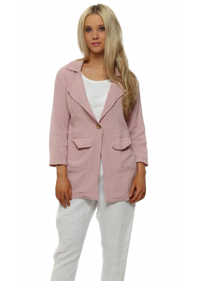 Italian Boutique Casual Pink Linen Pocket Blazer