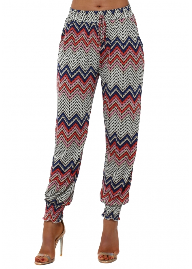 French Boutique Pink Aztec Zig Zag Print Harem Trousers