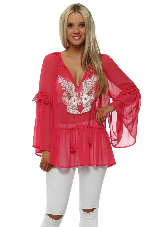 Just M Paris Hot Pink Beaded Neckline Floaty Chiffon Top