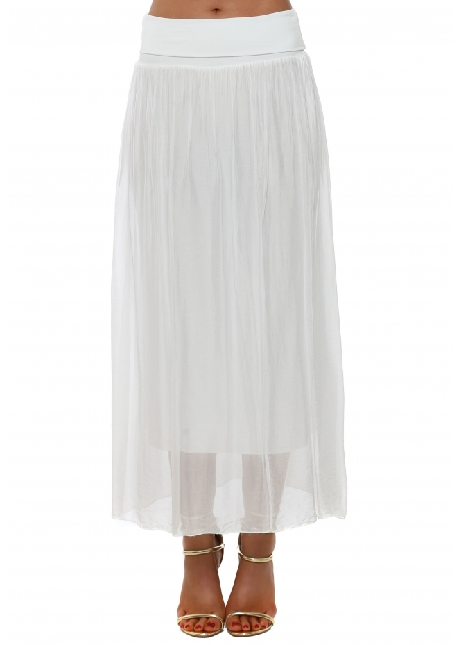 French Boutique White Silk Maxi Skirt With Deep Bandeau Waist