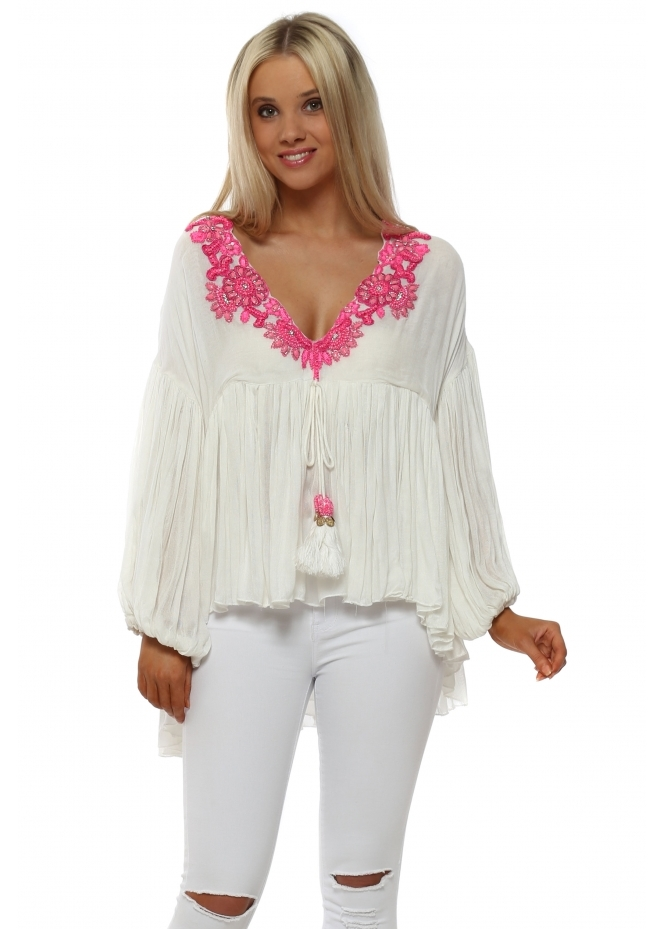 Laurie & Joe White Ruffle Blouse With Hot Pink Beads & Jewels