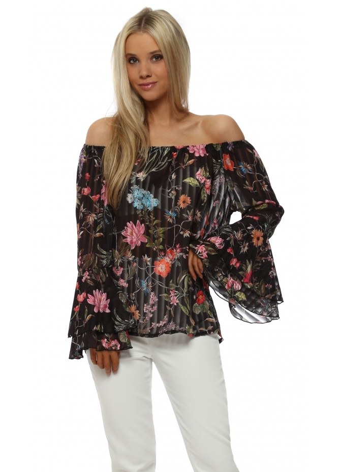 Made In Italy Black Floral Off The Shoulder Bell Sleeve Top