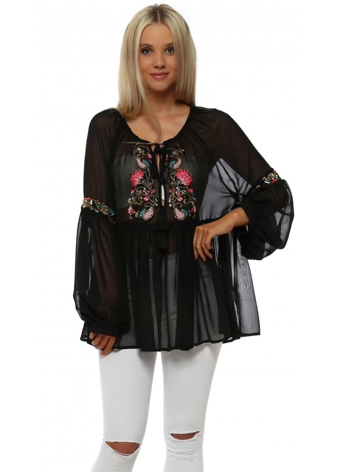 Just M Paris Black Beaded Neckline Floaty Chiffon Top