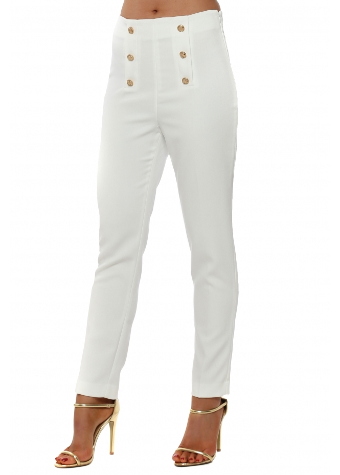 French Boutique Ivory High Waisted Button Cigarette Trousers