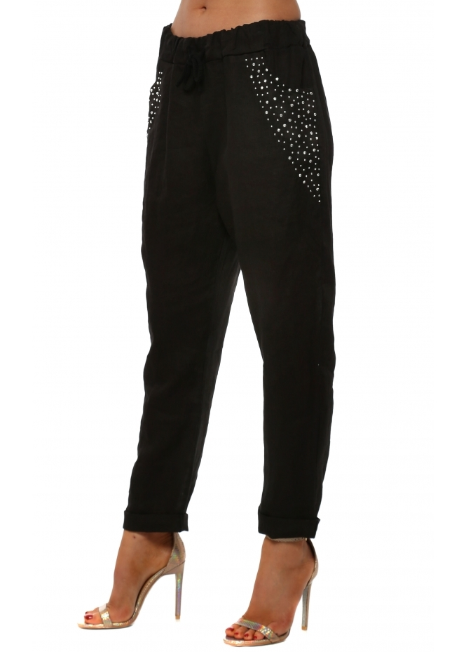French Boutique Black Linen Silver Studded Pocket Trousers