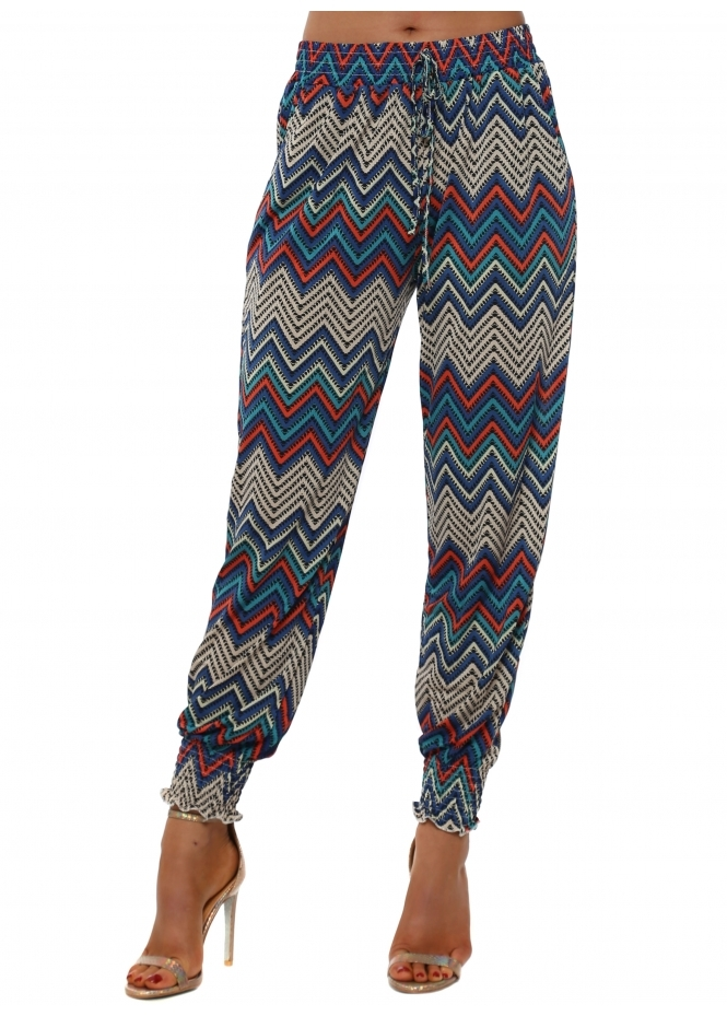 French Boutique Blue Aztec Zig Zag Print Harem Trousers