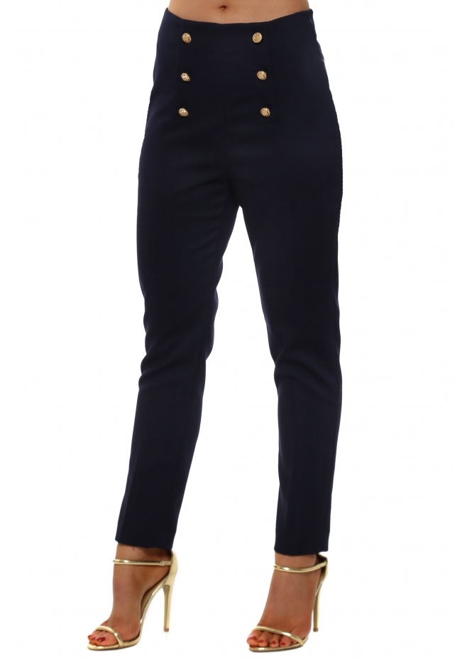 French Boutique Navy Blue High Waisted Button Cigarette Trousers