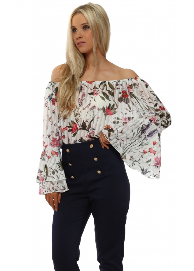 Made In Italy White Floral Off The Shoulder Bell Sleeve Top