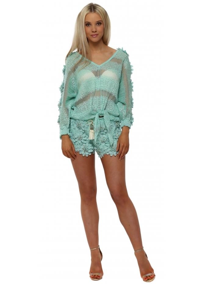Laurie & Joe Turquoise Floral Diamante Shorts & Top Set