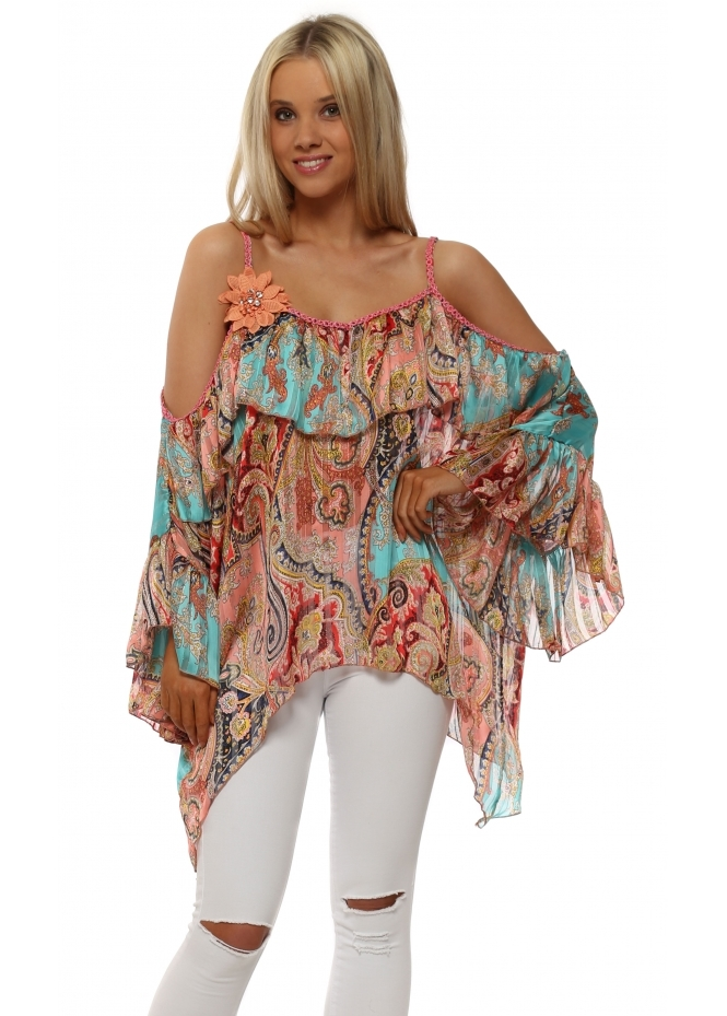 Just M Paris Aqua & Coral Paisley Cold Shoulder Kaftan Top