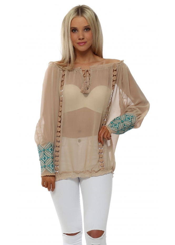 Just M Paris Nude Off The Shoulder Turquoise Beaded Cuff Top