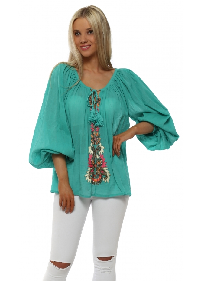 Just M Paris Jade Crinkled Cotton Beaded Embellished Top