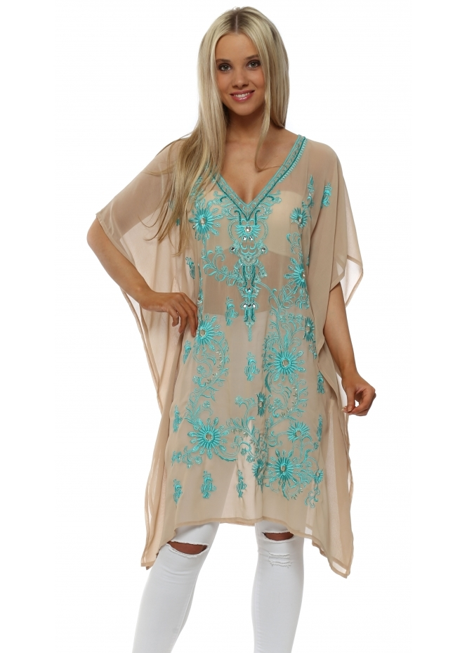 Just M Paris Turquoise Heavily Embellished Nude Kaftan