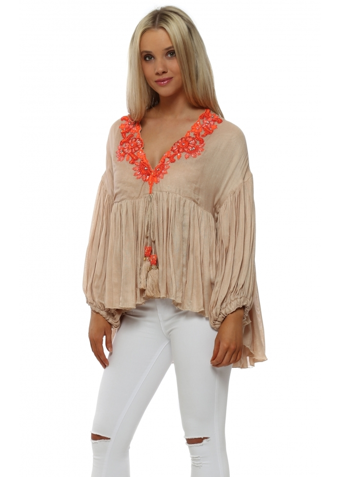 Laurie & Joe Beige Ruffle Blouse With Orange Beads & Jewels