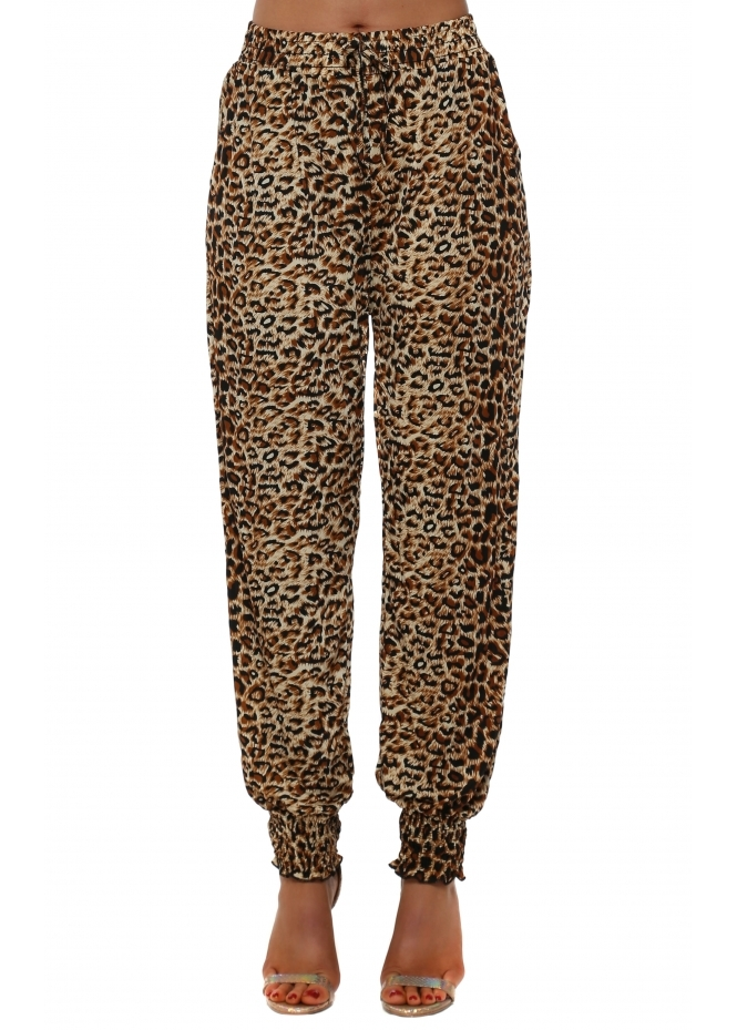 French Boutique Brown Leopard Print Harem Trousers