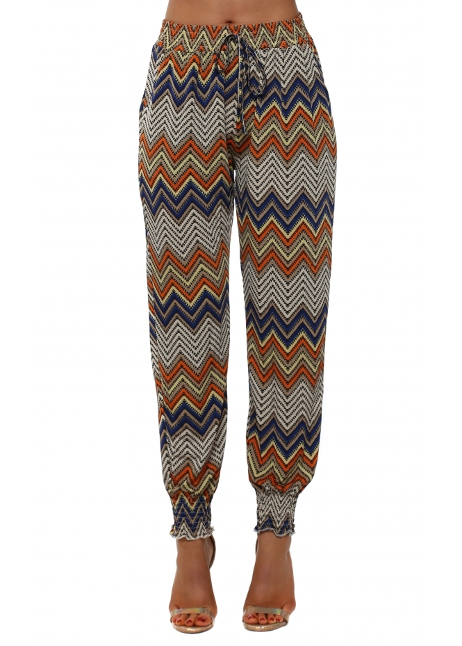 French Boutique Orange Aztec Zig Zag Print Harem Trousers