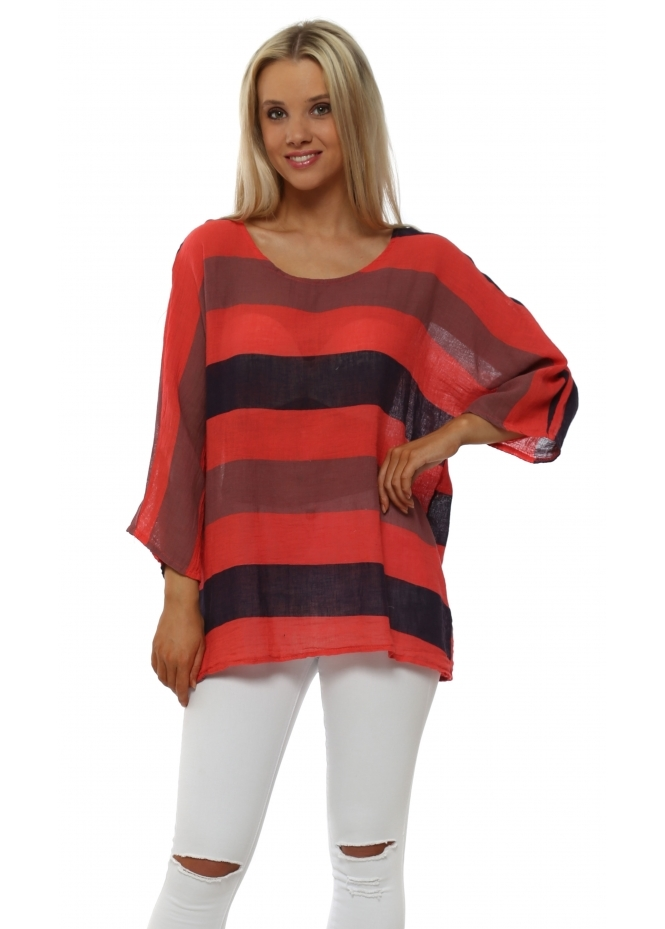 Italian Boutique Coral Stripe Linen Short Sleeve Tunic Top
