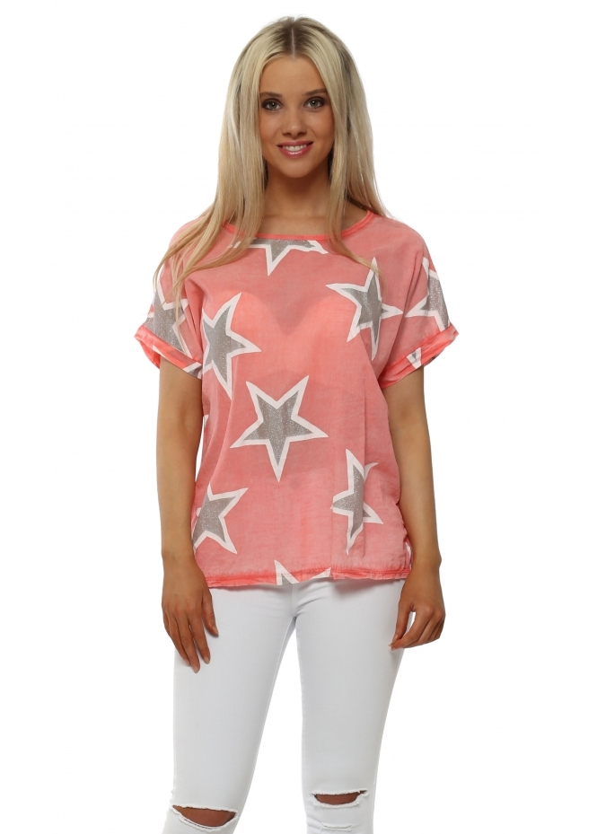 Made In Italy Coral Glittery Stars Cotton Short Sleeved Top