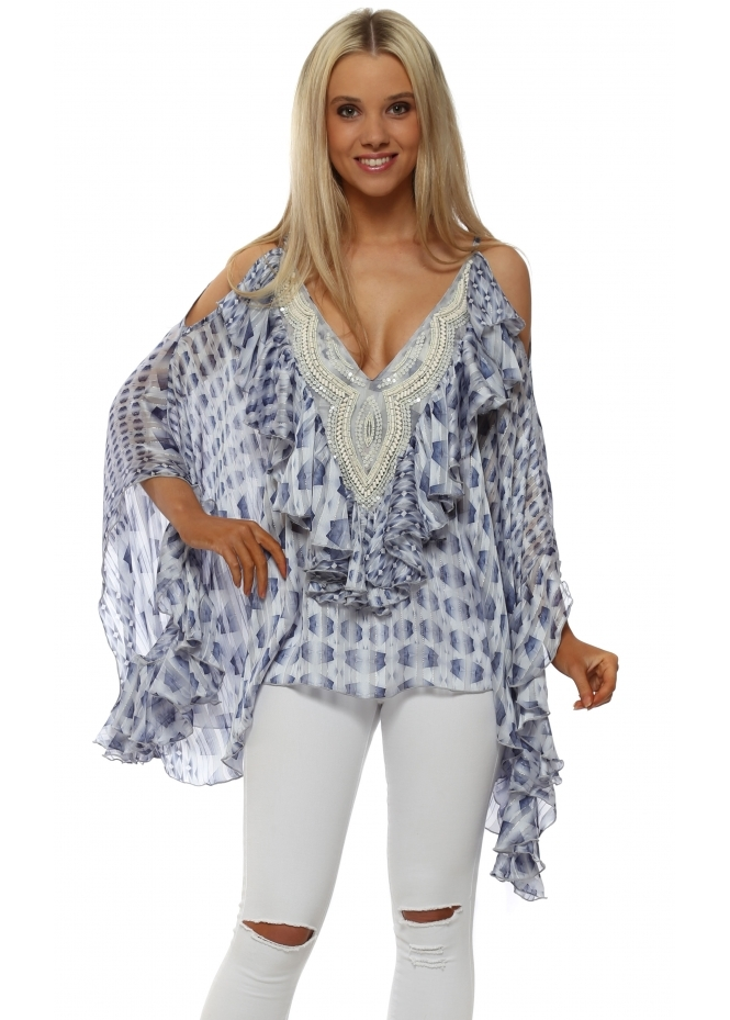 My Story Blue Patterned Beaded Cold Shoulder Ruffle Top