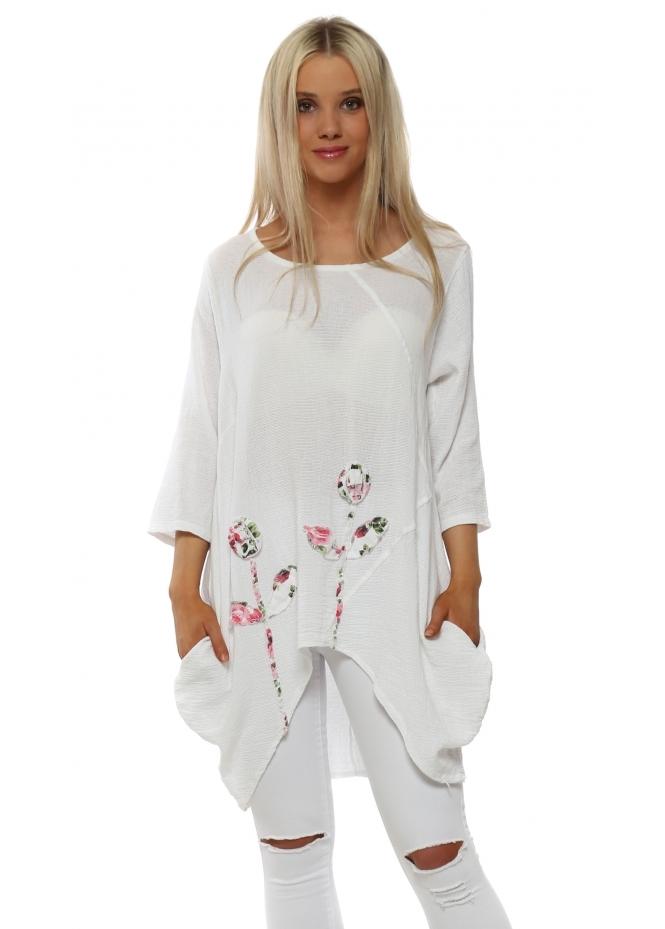 Italian Boutique White Linen Rose Detail Dip Sides Tunic Top