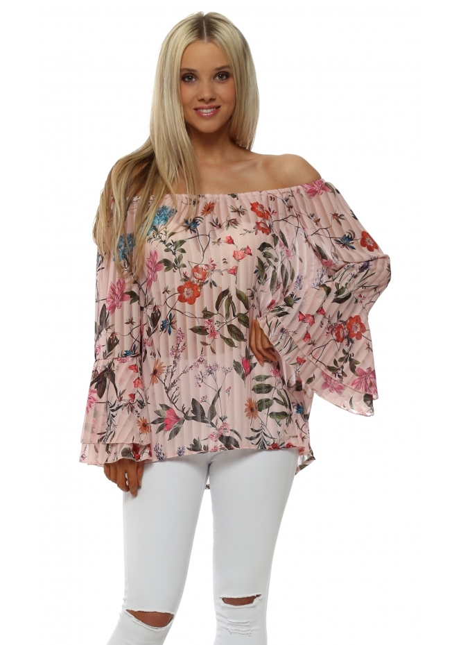 Made In Italy Pink Floral Off The Shoulder Bell Sleeve Top