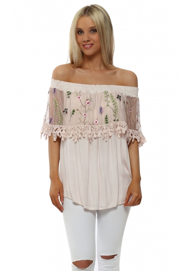 Pinka Baby Pink Floral Embroidered Bardot Top