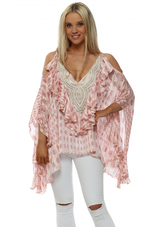 My Story Pink Patterned Beaded Cold Shoulder Ruffle Top