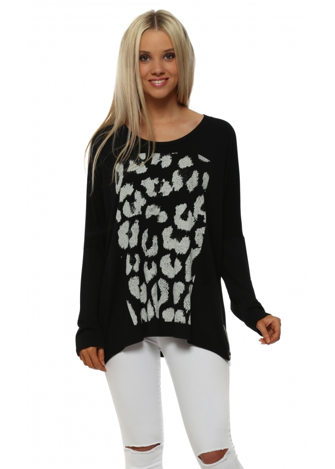 A Postcard From Brighton Zippy Animal Print Sweater In Black