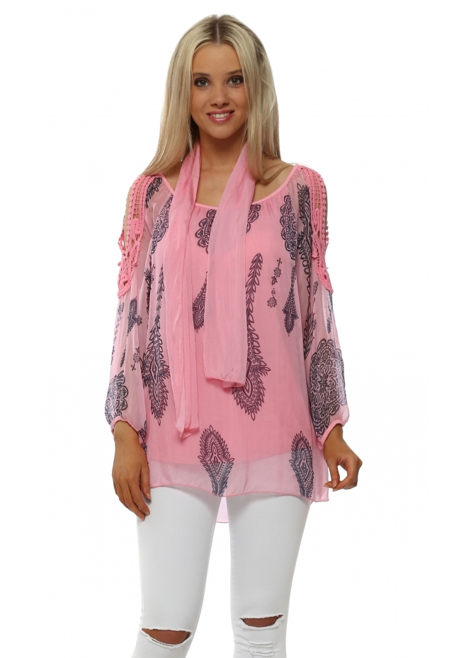 Made In Italy Candy Pink Silk Paisley Print Cold Shoulder Top & Scarf