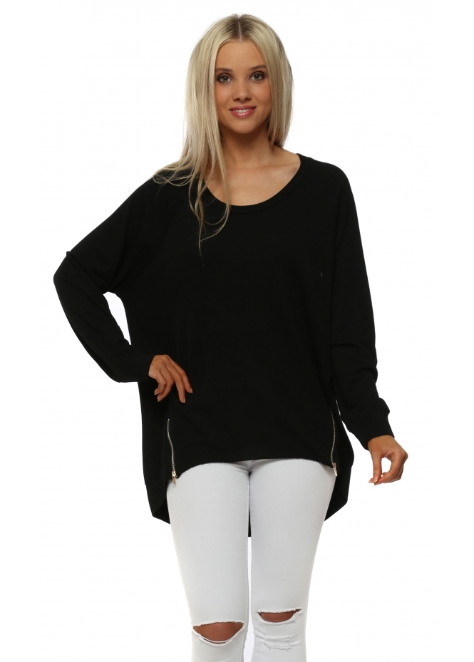 A Postcard From Brighton Cleo Zippy Loop Back Sweater In Black