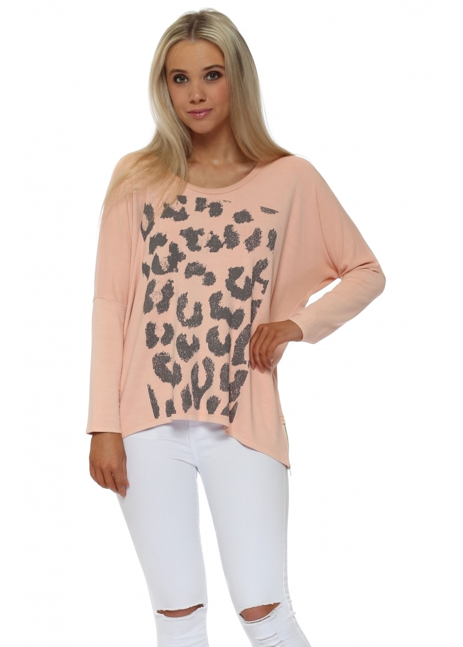 A Postcard From Brighton Zippy Animal Print Sweater In Seduction
