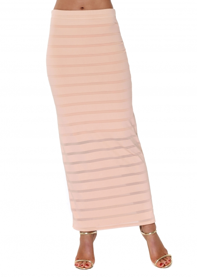 A Postcard From Brighton Seduction Shadow Mesh Stripe Maxi Skirt