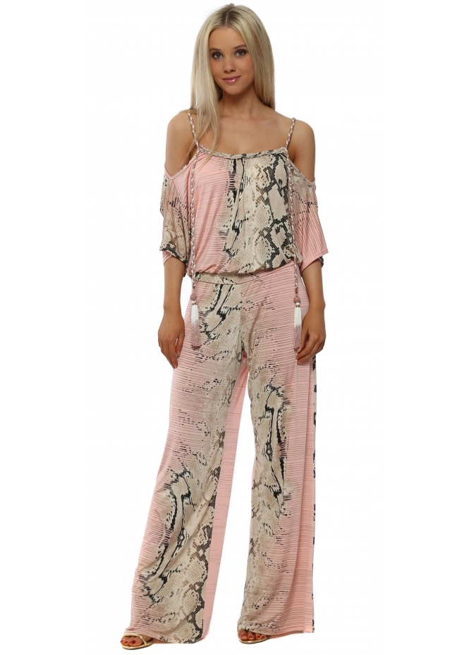 My Story Pink Snake Print Cold Shoulder Jumpsuit