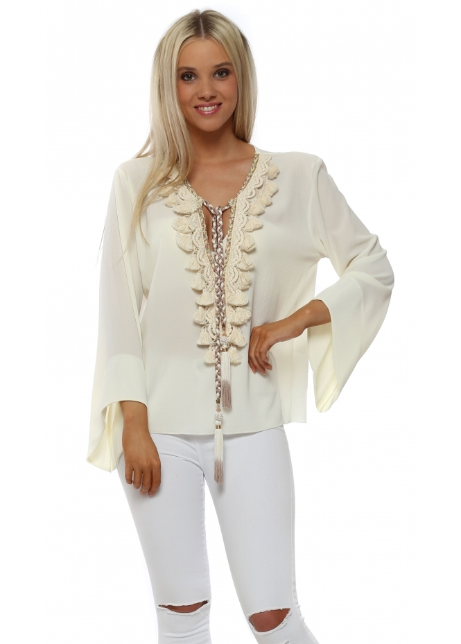 Laurie & Joe Cream Crepe Tassle Tie Braid Top
