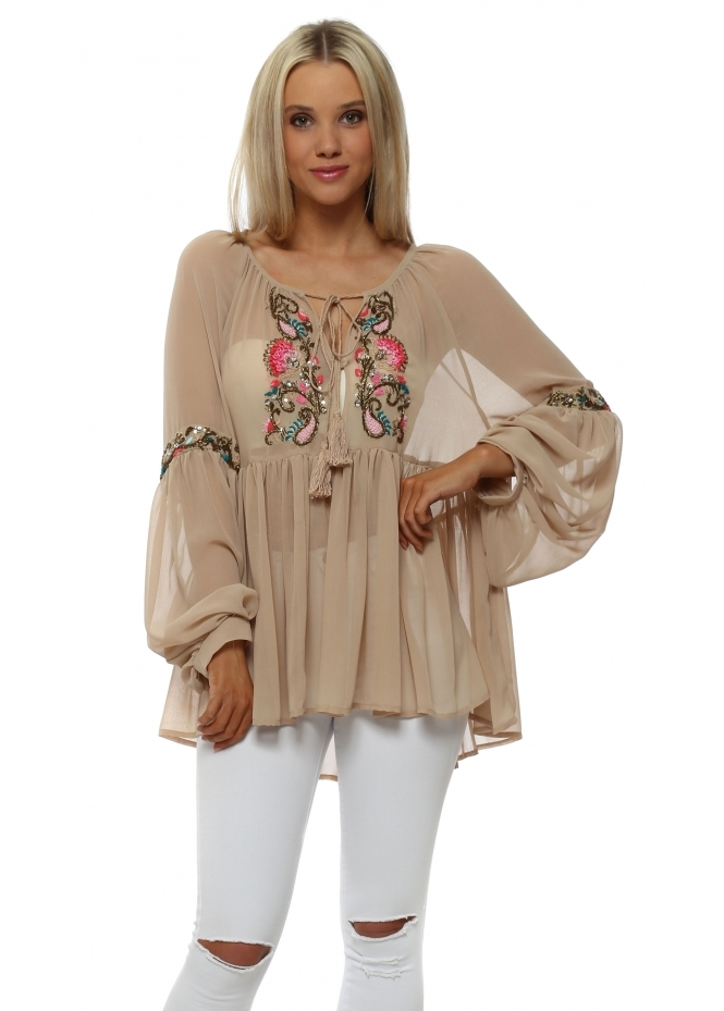 Just M Paris Nude Beaded Neckline Floaty Chiffon Top
